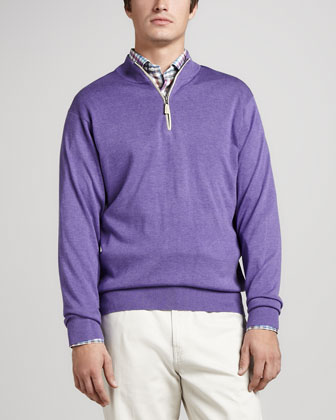 Leather-Trim Zip Sweater, Royal Purple