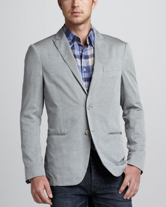 Soft Peak-Lapel Blazer, Gray