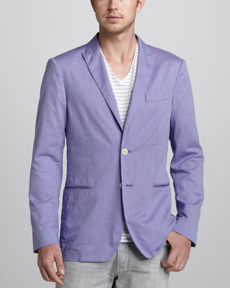Soft Peak-Lapel Blazer, Purple