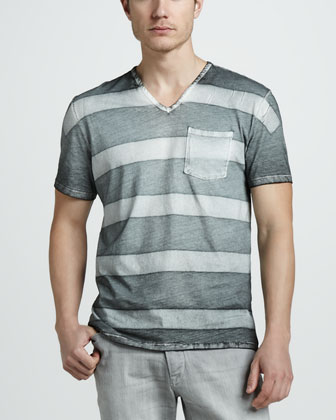 Striped V-Neck Pocket Tee, Gray