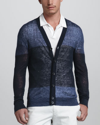 Colorblock Linen-Blend Cardigan