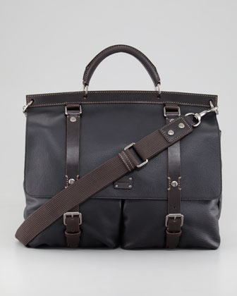 Pebbled Leather Briefcase, Black