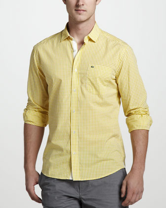 Gingham Sport Shirt, Starfruit Yellow