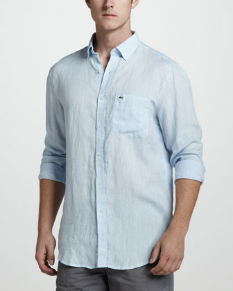 Linen Sport Shirt, Dragonfly Blue