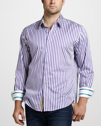 Lanai Striped Sport Shirt, Purple