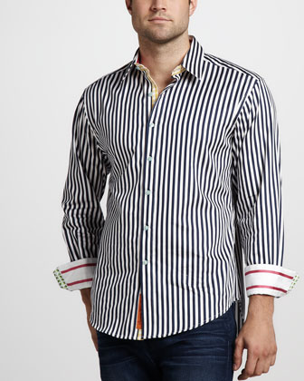 Lanai Striped Sport Shirt, Navy