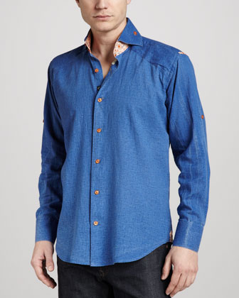 Peter Paisley-Trim Linen Shirt, Navy