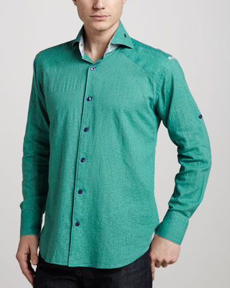 Peter Paisley-Trim Linen Shirt, Green