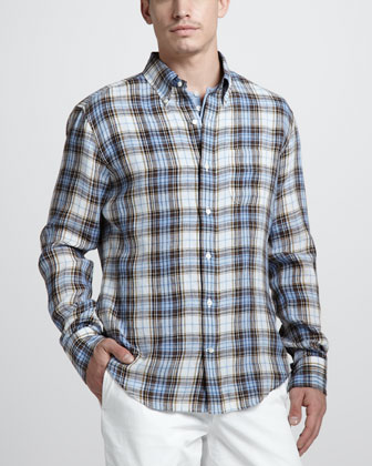 Plaid Linen Sport Shirt, Sky