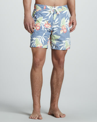 Tropic-Print Swim Trunks