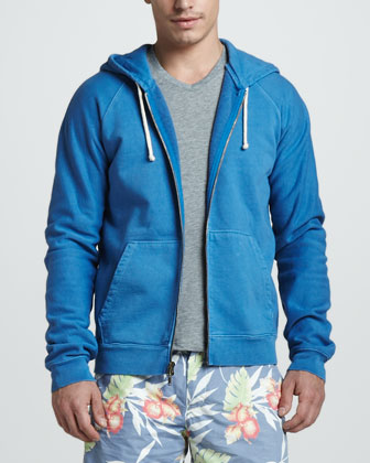 French Terry Zip Hoodie and Tropic-Print Swim Trunks