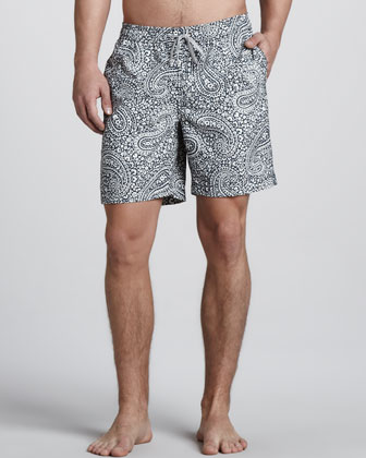 Charles Paisley-Print Swim Trunks, Gray
