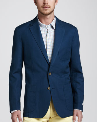 Soft Cotton-Linen Blazer, Navy