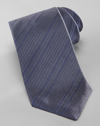 Skinny Tonal Striped Silk Tie, Navy