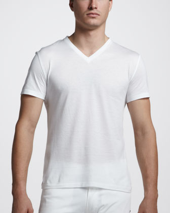 V-Neck Tee, Pure White
