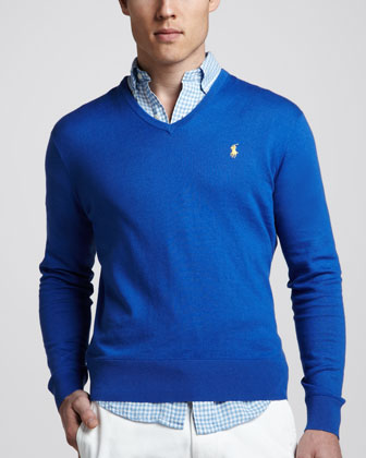 V-Neck Cotton-Cashmere Sweater, New Iris Blue