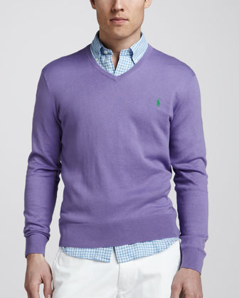 V-Neck Cotton-Cashmere Sweater, Hampton Purple