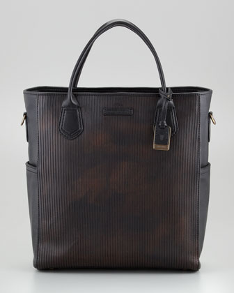 James Cut Leather Tote Bag, Dark Brown