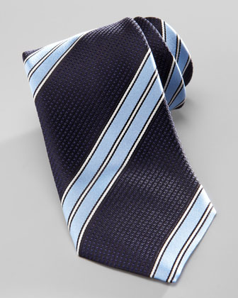 Striped Silk Tie, Navy/Light Blue