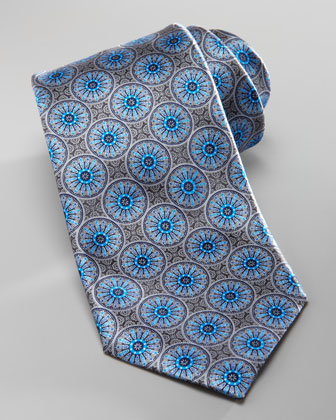 Medallion Silk Tie, Gray/Blue