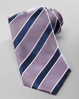 Striped Silk Tie, Purple/Navy