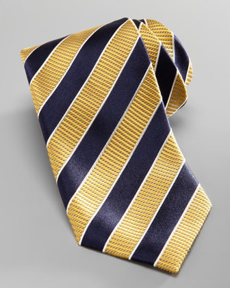 Striped Silk Tie, Yellow/Navy