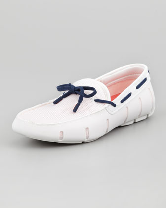 Lace-Up Mesh/Rubber Loafer, White/Navy