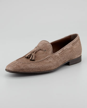 Crocodile-Embossed Suede Loafer, Light Brown
