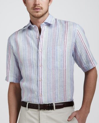 Amalfi Multi-Striped Linen Shirt, Multi