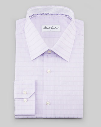 Manuel Box-Check Dress Shirt, Lavender
