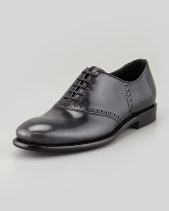 Serafino Shiny Leather Lace-Up Oxford, Gray/Black