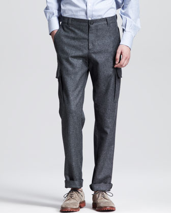Flannel Cargo Pants, Dark Gray