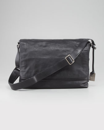 James Leather Messenger Bag, Black