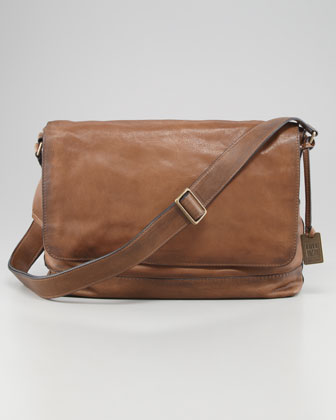 James Leather Messenger Bag, Taupe
