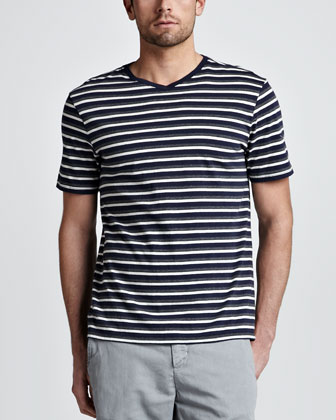 Striped V-Neck Tee, Navy