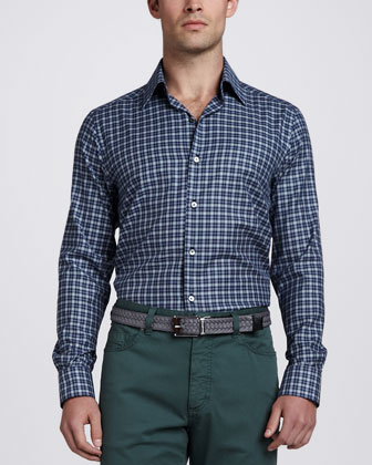 Long-Sleeve Plaid Sport Shirt, Navy/Green
