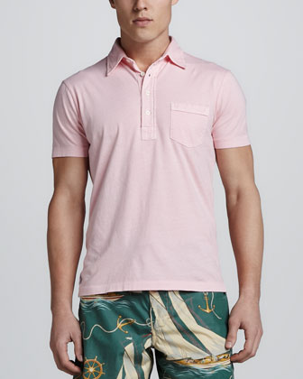 Short Sleeve Pocket Jersey Polo, Pink
