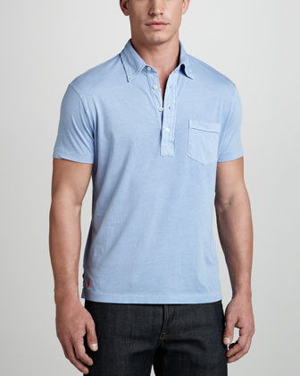 Short-Sleeve Jersey Polo, Blue