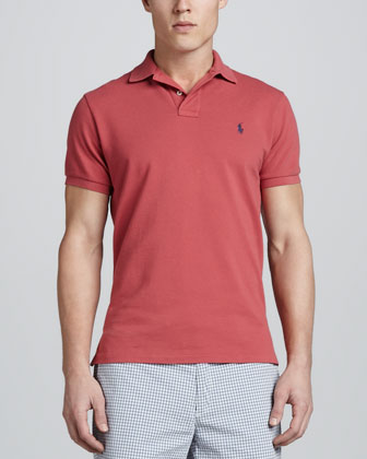 Short Sleeve Pique Polo, Orange Red