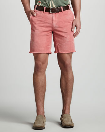 Montauk Cutoff Chino Shorts, Red Brick