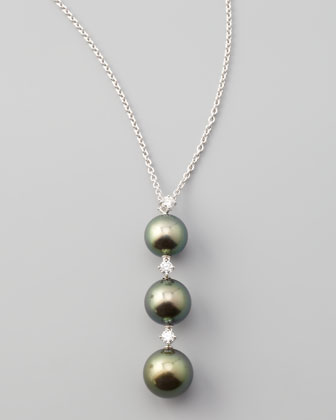 Three-Pearl South Sea Pendant Necklace