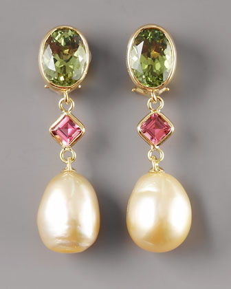 Golden Pearl Tourmaline Earrings