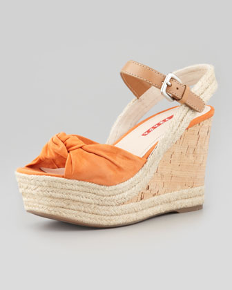 Knotted Suede Cork Wedge Sandal
