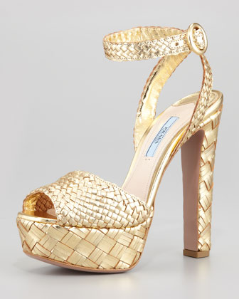 Woven Metallic Leather Platform Sandal