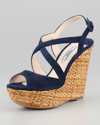 Suede Crisscross Wicker Wedge Sandal