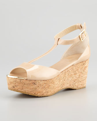 Pania Patent Cork Wedge