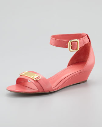 Gemma Low-Wedge Sandal, Coral