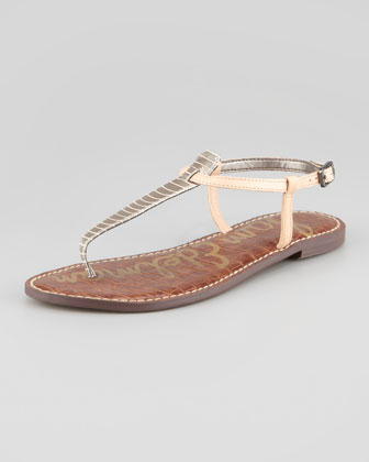 Gigi Snake-Print Leather Thong Sandal, Pewter/Natural