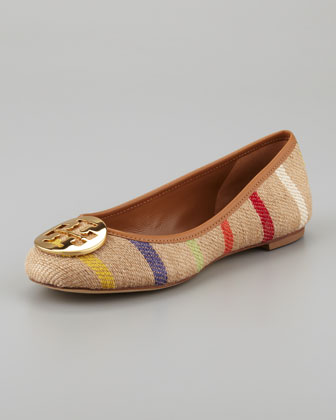 Reva Striped Linen Ballet Flat, Tan Multi