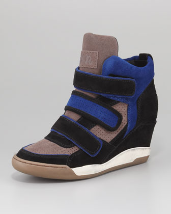 Alex Bis Three-Tone Suede Wedge Sneaker, Black Pattern